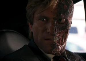 "Aaron Eckhart as Harvey Dent / Two-Face in Christopher Nolan's ""The Dark Knight"""