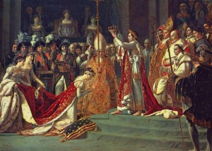 Famous painting of Napoleon crowning Josephine.