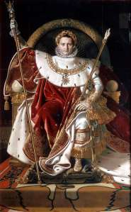 painting of Napoleon on the Imperial throne.