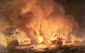 painting of Nelson's navy taking out Napoleon's