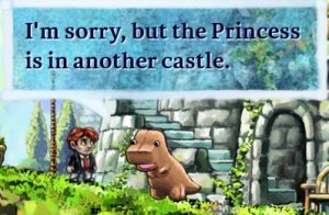 "scene from the indie game 'Braid' - ""I'm sorry, but the Princess is in another castle."""
