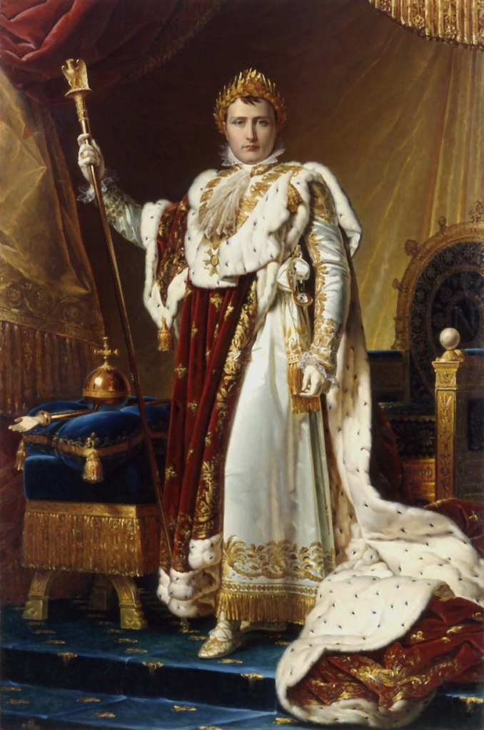 Portrait of Emperor Napoleon in elegant, elaborate, regal.