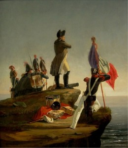 Napoleon and his soldiers on Elba, looking out to sea, plotting revenge.