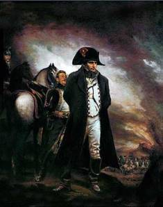 a dark painting of Napoleon looking determined on the battlefield