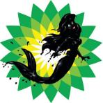 BP logo with the Little Mermaid covered in oil...