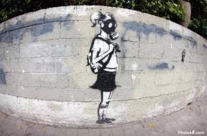 graffiti of girl in gas mask