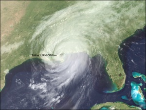 Hurricane Katrina swirling over New Orleans