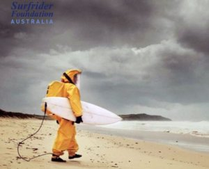 surfer in radiation suit