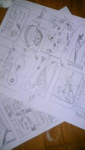 """Space Sharks"" story boards"
