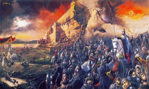 painting of the Siege of Constantinople