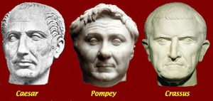 Pompey, Caesar, Crassus - busts