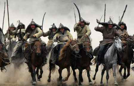 A Mongol horde on horseback