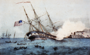 The USS Cumberland - taken down by the Merrimac